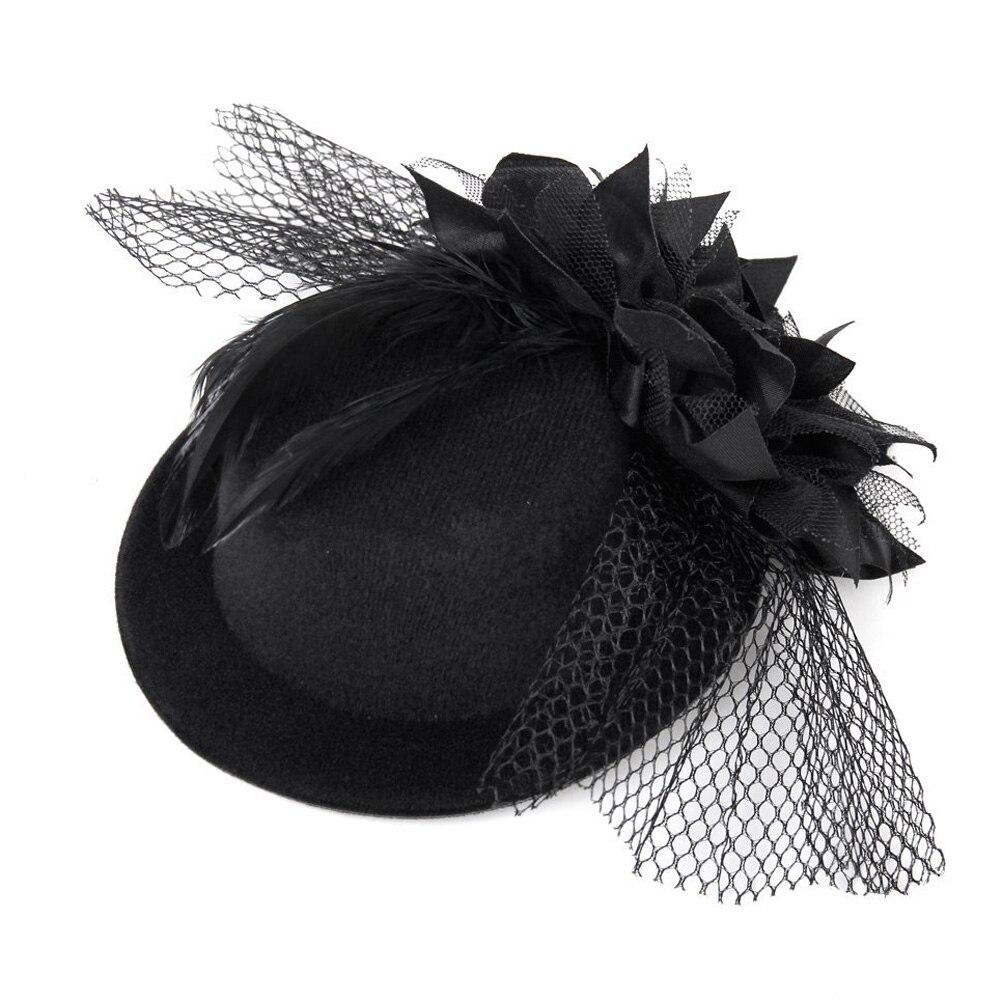 Womens Ladies Fedoras Flower Decor Hair Clip Feather Fascinator Burlesque Punk Mini Top Hat