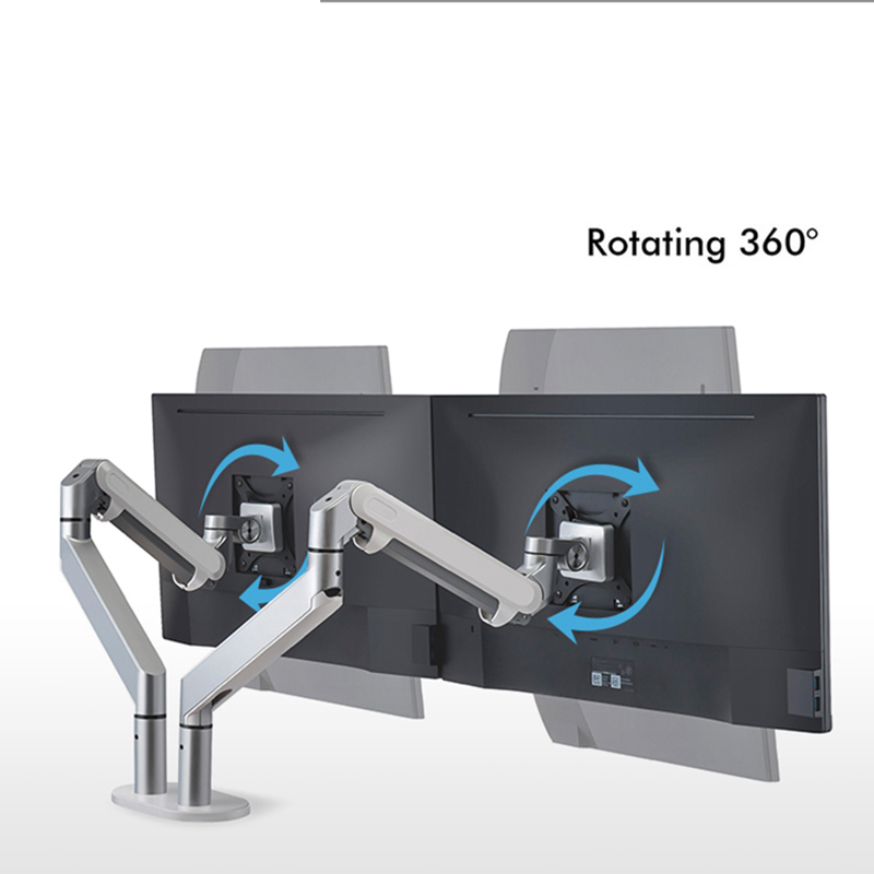 Support de bureau à double bras pour moniteur, support de moniteur en aluminium entièrement réglable support de moniteur à ressort à gaz pour OZ-2 17-32''