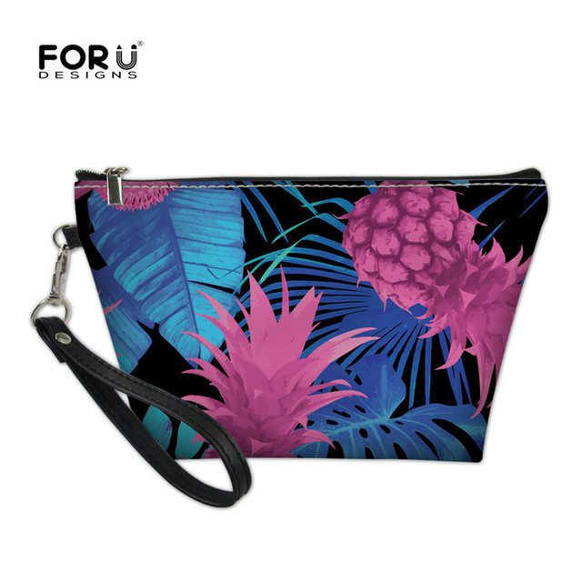 11d8dde2e417 US $8.05 38% OFF|FORUDESIGNS Women Pineapple Make Up Pu Bag For Girls Small  Professional Makeup Case Travel Female Cosmetic Purse Wash Cases New-in ...