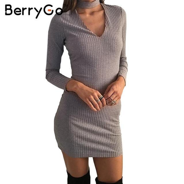 6ff809ebb3d54 US $24.99  BerryGo Sexy halter black knitted dress Women autumn winter  elegant v neck bodycon dress Casual short vestidos sweater dresses-in  Dresses ...