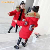 New 2019 Fashion Children Winter Jacket Girl clothing Kids Warm Thick parka Colored Fur Collar Hooded down Coats Teenage 3Y 13Y