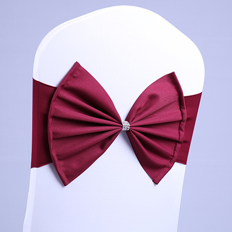 100Pcs Burgundy Color Chair Sash Satin Chair Sash Spandex Lycra Bow Tie Fit All Chairs Wedding Banquet Hotel Party Decoration