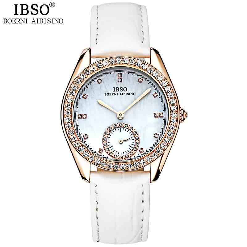 IBSO Top Brand Luxury White Fashion Women Watches 2018 Quality Crystal Diamond Watch Women Genuine Leather Strap Montre Femme цена 2017