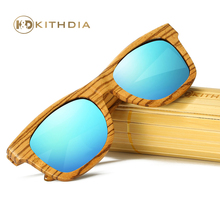 Kithdia Natural Zebra Polarized Wood Sunglasses Blue Lens Handmade and Support DropShipping / Provide Pictures #KD015