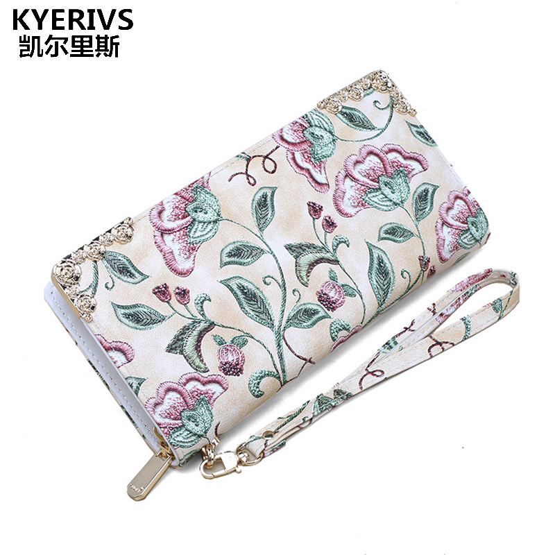 Flower Women Wallets Pu Leather Wallet Female Long Design Clutch Bag Luxury Brand Multifunction Women Purse Phone Card Holder women leather wallets v letter design long clutches coin purse card holder female fashion clutch wallet bolsos mujer brand