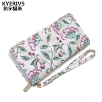 Flower Women Wallets Pu Leather Wallet Female Long Design Clutch Bag Luxury Brand Multifunction Women Purse