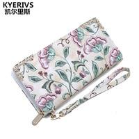 Flower Women Wallets Pu Leather Wallet Female Long Design Clutch Bag Luxury Brand Multifunction Women Purse