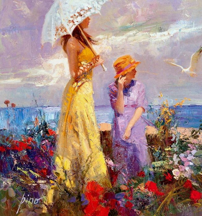 Woman on the beach Painting by Pino Daeni,oil on Canvas art Reproduction,Home Decor,hand-painted,high quality