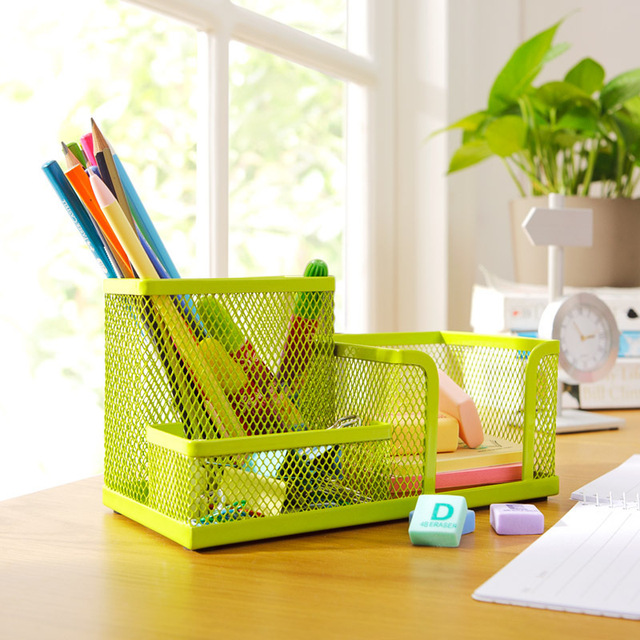 Colorful Metal Desktop Stationary Holder , Office Desk Stationary Box  Organizer For Pen Card Office Stationery