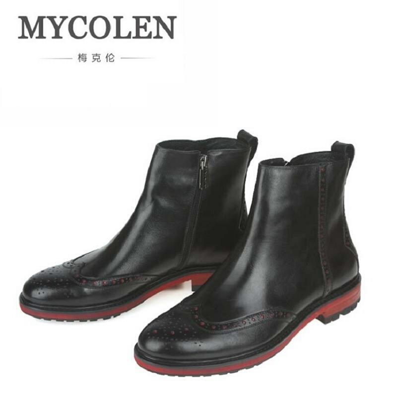 MYCOLEN Brand High Quality Black Elastic Zip Round Toe Ankle Casual Genuine Leather Luxury Designer Men Dress Wedding Boots designer luxury designer shoes women round toe high brand booties lace up platform ankle boots high quality espadrilles boot