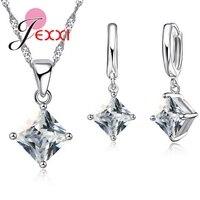 New Arrival Women Accessories Pendant Necklace Earrings Jewelry Set Gril Square Shinny CZ Diamond Pendant 925