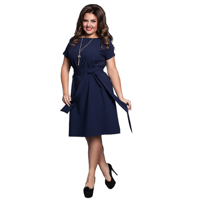 Detail Feedback Questions about ECOBROS Big size 6XL Woman dress 2018  Summer Loose solid knee dresses Fat MM plus size women clothing 6xl dress  with belt on ... 6982df22d10a