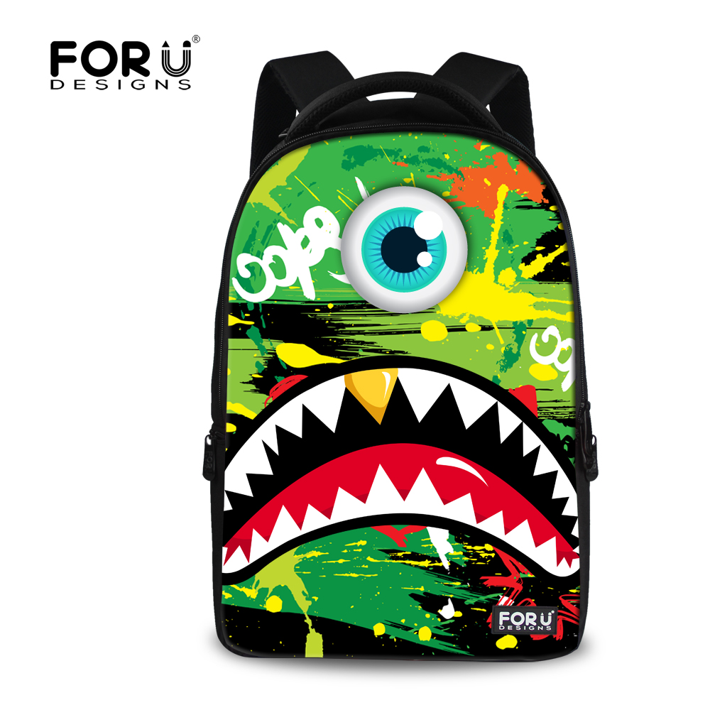 ФОТО FORUDESIGNS Fashion Shark Tooth Women's Travel Backpacks Graffiti Laptop Bagpacks Kpop Ladies Rucksack Satchel Mochilas Boloas