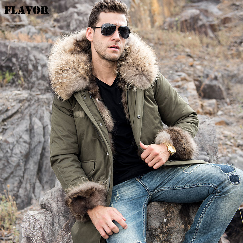 FLAVOR Men Real Fur Parka With Removable Rex Rabbit Fur Liner Raccoon Fur Hood Men's Winter Warm Down Coat