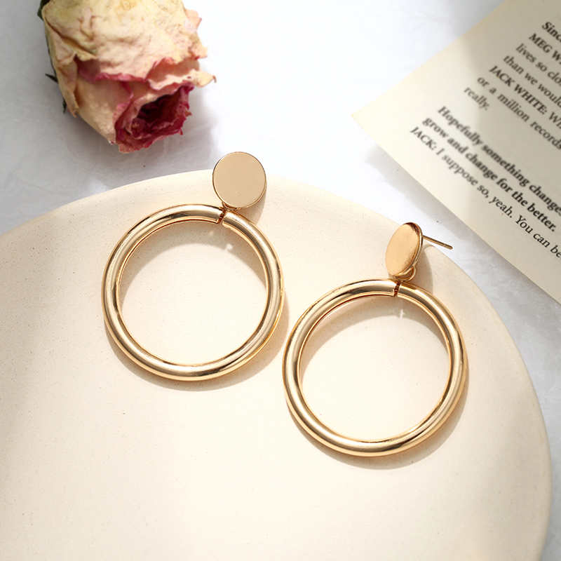 Hote Simple fashion gold color Silver plated geometric big round earrings for women fashion big hollow drop earrings jewelry bracelet