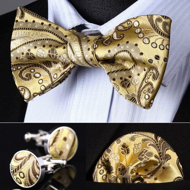 BZP11D Gold Brown Paisley Men Silk Self Bow Tie handkerchief Cufflinks set