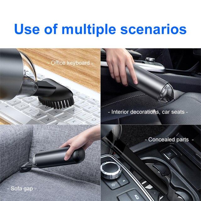 Aspirateur de voiture Baseus Robot aspirateur Portable sans fil Portable pour intérieur de voiture et nettoyage de la maison et de l'ordinateur 3