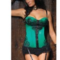 Women Chest Binder Floral Lace Covered Underwire Cup Green Satin Push Up Gothic Corsets And Bustiers Lady Corpetes E Espartilhos