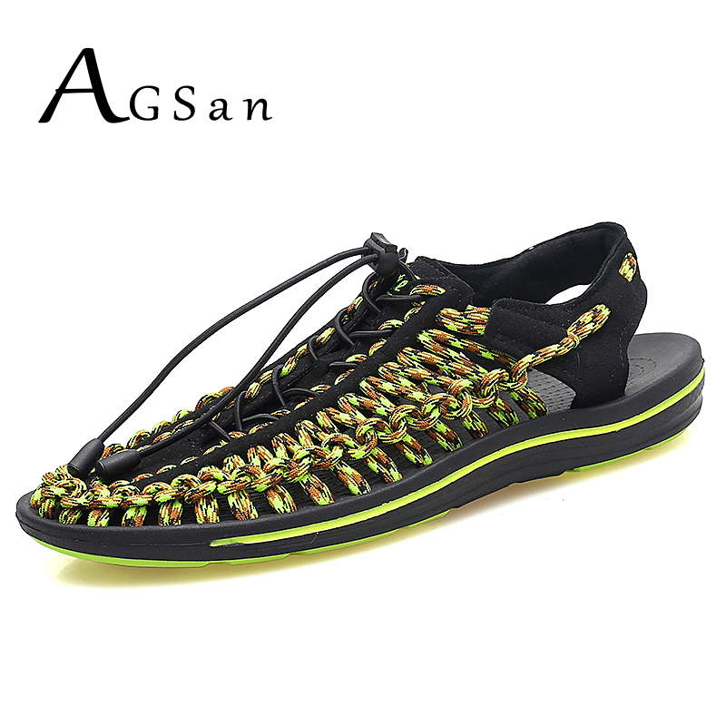AGSan Handmade Men Sandals Gladiator Roman Style Beach Sandals Weaven Hollow Out Sandalias Hombre Green Black Casual Shoes