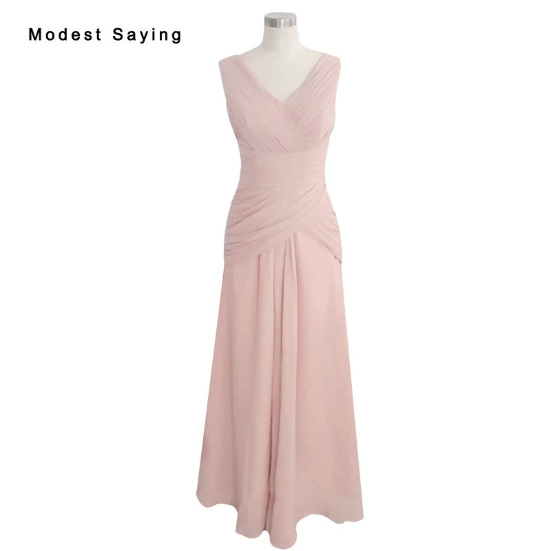Dusty Pink Elegant V Neck Pleated   Bridesmaid     Dresses   2017 with Shawl Formal Maid of Honor Party Prom Gowns vestido madrinha LR5