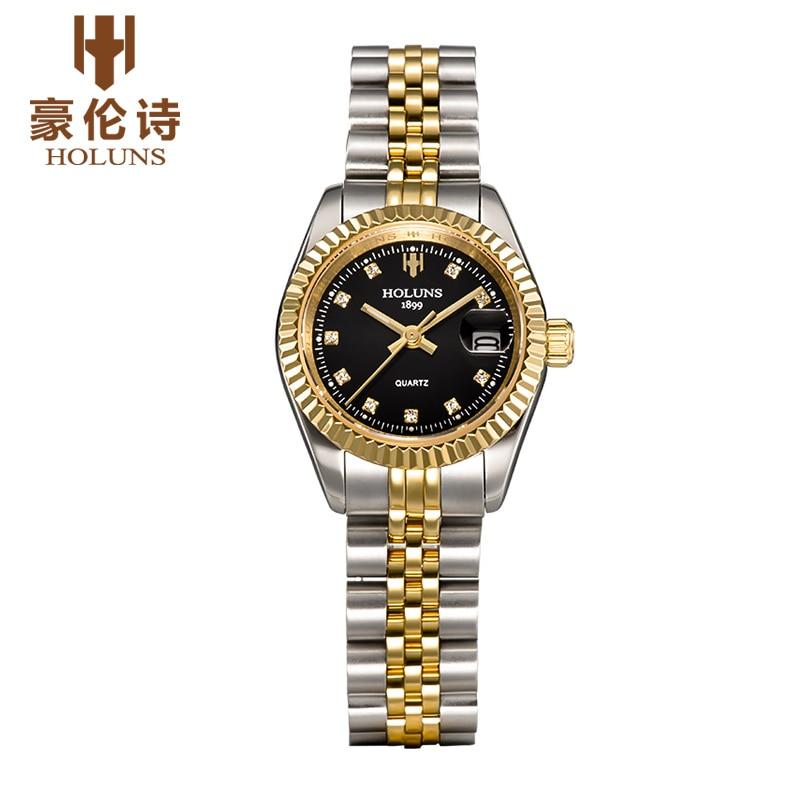 ФОТО HOLUNS R204 Watch Geneva Brand oyster perpetual datejust series women's golden quartz movement 178341 relogio masculino
