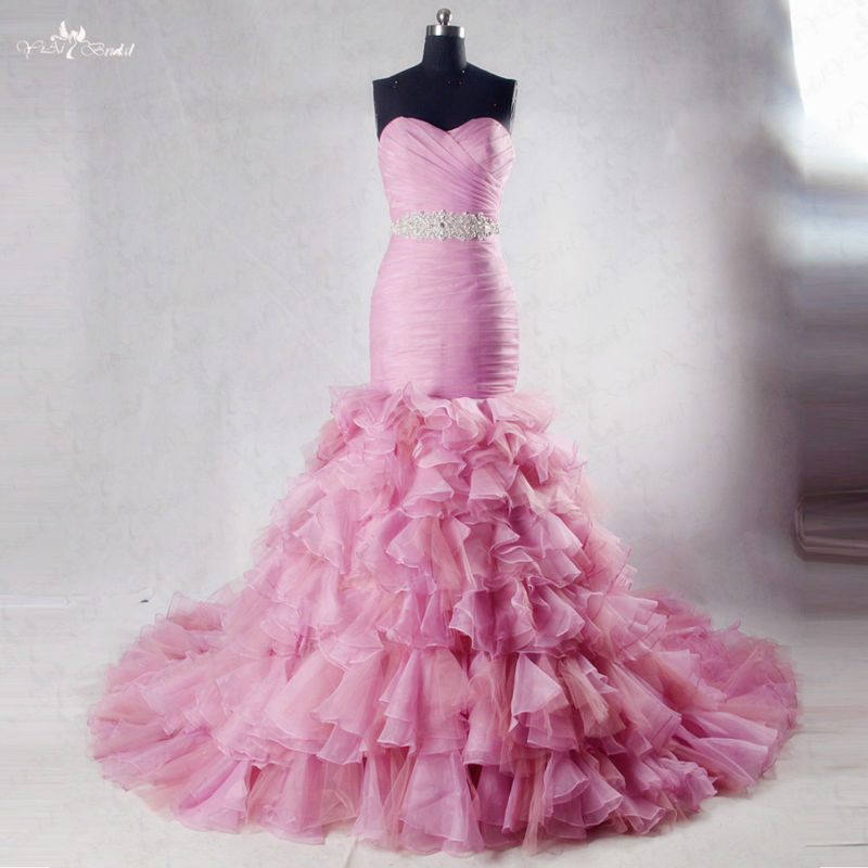 Buy rsw1030 sweetheart neckline long for Pink ruffle wedding dress