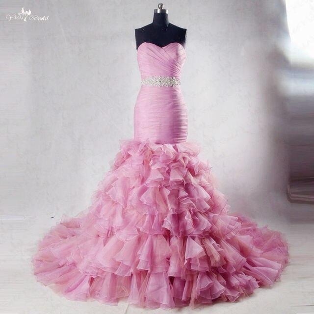 RSW1030 Sweetheart Neckline Long Train Crystal Belt Dusty Pink Blush ...