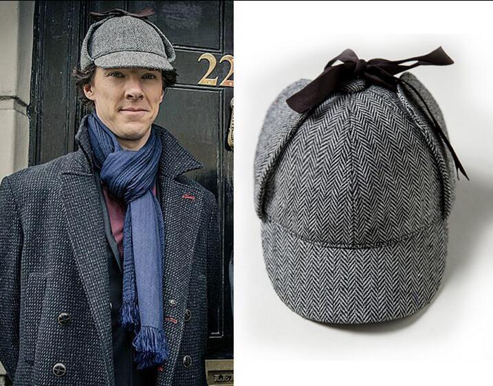 Sherlock Holmes deerstalker hat brimmed hat one set
