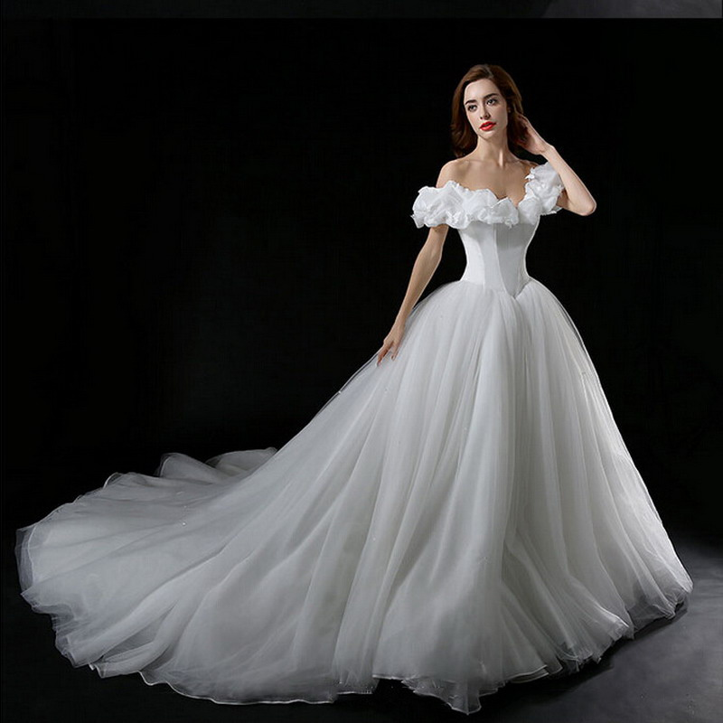 Real Photo Cinderella Wedding Dress Off Shoulder Princess Bridal Gown Newest Movie Inspired Blue For Bride In Dresses From