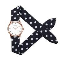 Возрождение Для женщин модные часы полоса ткани роскошные элегантные Повседневное кварцевые Бизнес наручные часы