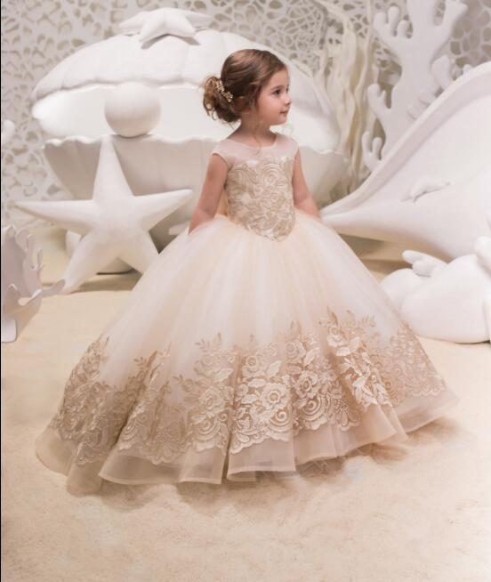Vintage champagne lace appliques ball gown toddler kids holy first communion gowns flower girl dresses for wedding formal event