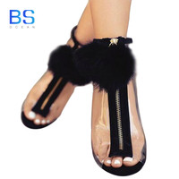 OCEAN BS Women Sandals High Heel Peep Toe Transparent Clear Ankle Boots Fuzzy Ball Pompon Gladiator Sandals Bootie Shoes Stilett