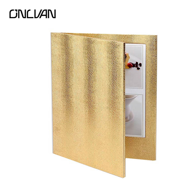 ONLVAN LED Restaurant Menu Covers Golden Color LED Menu Folders Bar Luxury List Holders Accept Customized a4 leather discolor manager file folder restaurant menu cover custom portfolio folders office portable pu document report cover