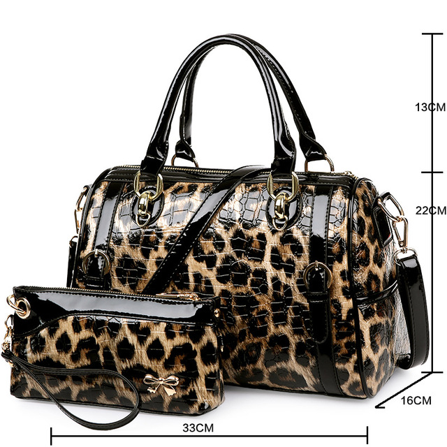 ZOORON 2017 leopard leather bright face women handbags women single shoulder handbag lady fashion crossbody handbag two piece
