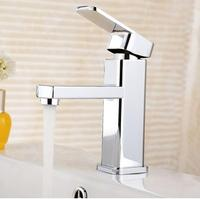 Free Shipping Chrome Basin Faucet Brass Material Water Mixer Hot And Cold Square Bathroom Sink Faucet