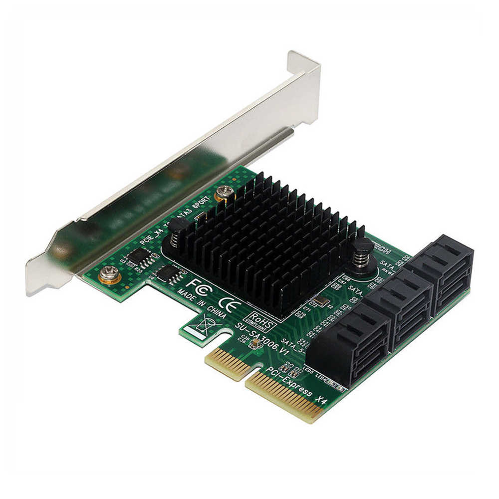 PCI Express PCI-E X4 to 6-Port SATA III 6Gbps Controller Expansion Adapter  Card with Low Profile Bracket Non-Raid For HDD SSD