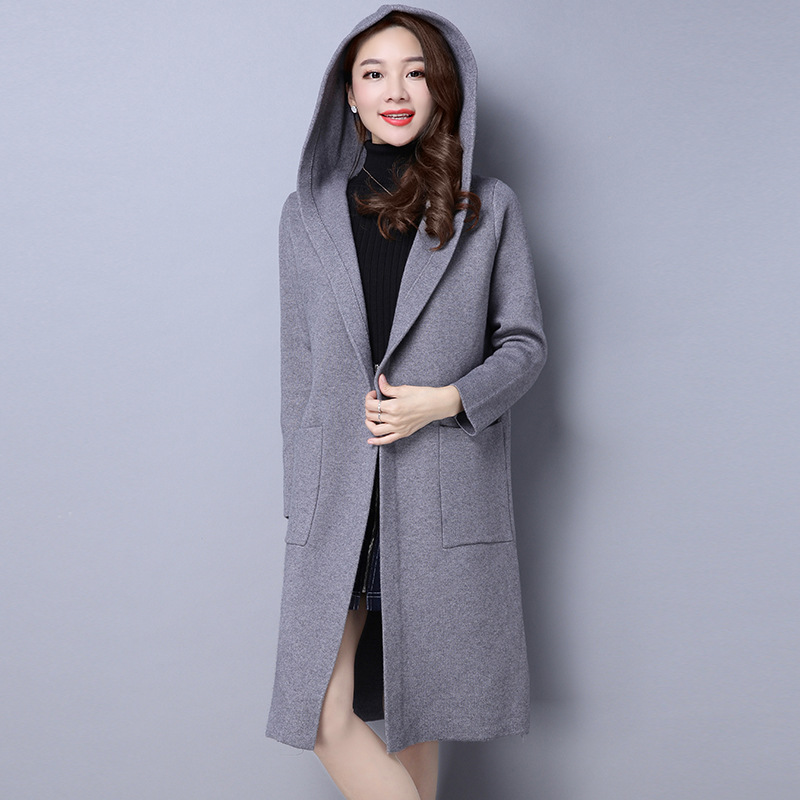 Sweater women jeans pockets hooded for cardigan with