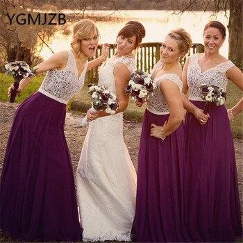 Purple Lace Top Long Bridesmaid Dresses 2019 A-Line V-Neck Chiffon Women Formal Wedding Party Dress robe demoiselle d'honneur