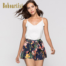 Купить с кэшбэком Bohoartist Women Drawstring Short Pants Beach Floral Print Bowknot 2018 Stylish Women Summer Holiday Bohemian Shorts For Girls