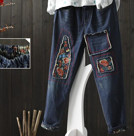 National wind stitch embroidery Drawstring waist denim  pants  pocket jeans spring national wind embroidery lace up neck dress