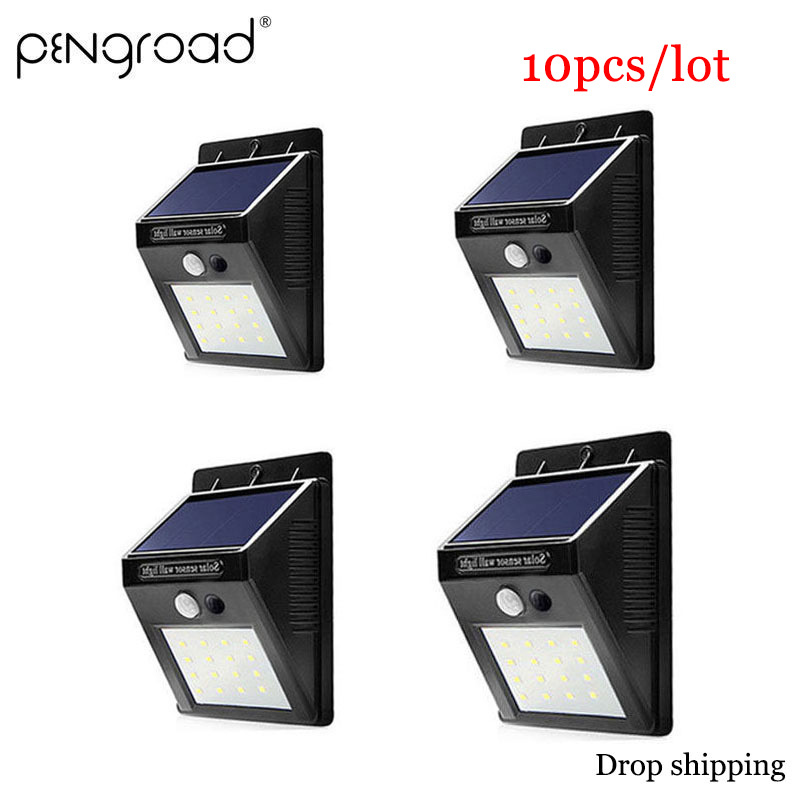4/6/10 piezas LED luz Solar 30 LED impermeable Solar Powered movimiento PIR Sensor de luz de jardín de casa patio de la calle Solar lámpara de pared Solar PD004