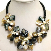 16-17 inches Natural Leather Cord Five Yellow&Black Double Color Shell Flower White Pearl Women Handmade Necklace