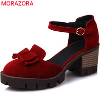 MORAZORA hot new summer spring square heel platform shoes with butterfly knot round toe flock high heels women pumps