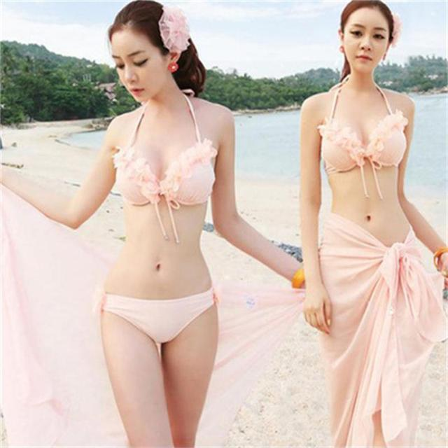 Aliexpress swimsuit seven female flower veil three piece Agent Provocateur  Sexy Swimwear swimwear trade body 0dd7d9251
