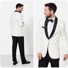 Ivory Men Suits Shawl Lapel Wedding Suits Bridegroom Groom Formal Tuxedo Prom Party Man Blazer Costume Slim Fit Terno Masculino