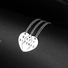 Nova moda colar melhor amigo melhor cadelas 2/3 coração quebrado pingente colar triplo costura namoradas namorada friendsh