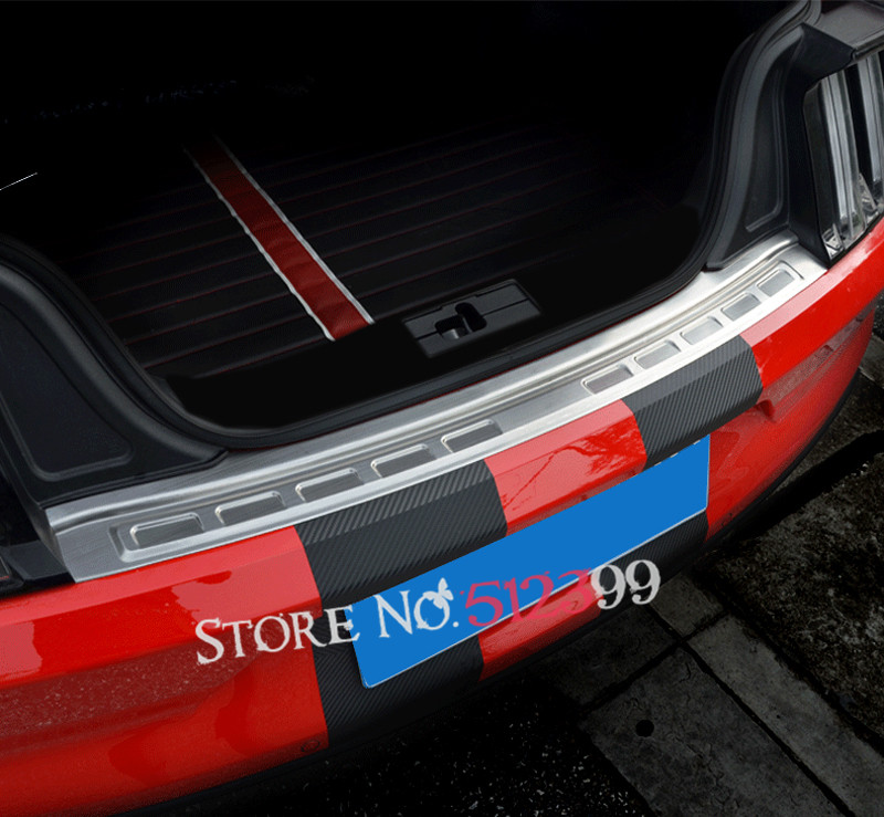 Stainless Rear Trunk  Doar Sill Scuff Cover Outer Bumper Protector Trim Plate Car Styling  For Ford Mustang 2015 2016 2017 for porsche cayenne 2015 stainless steel outer rear bumper foot plate trim 1pcs car styling