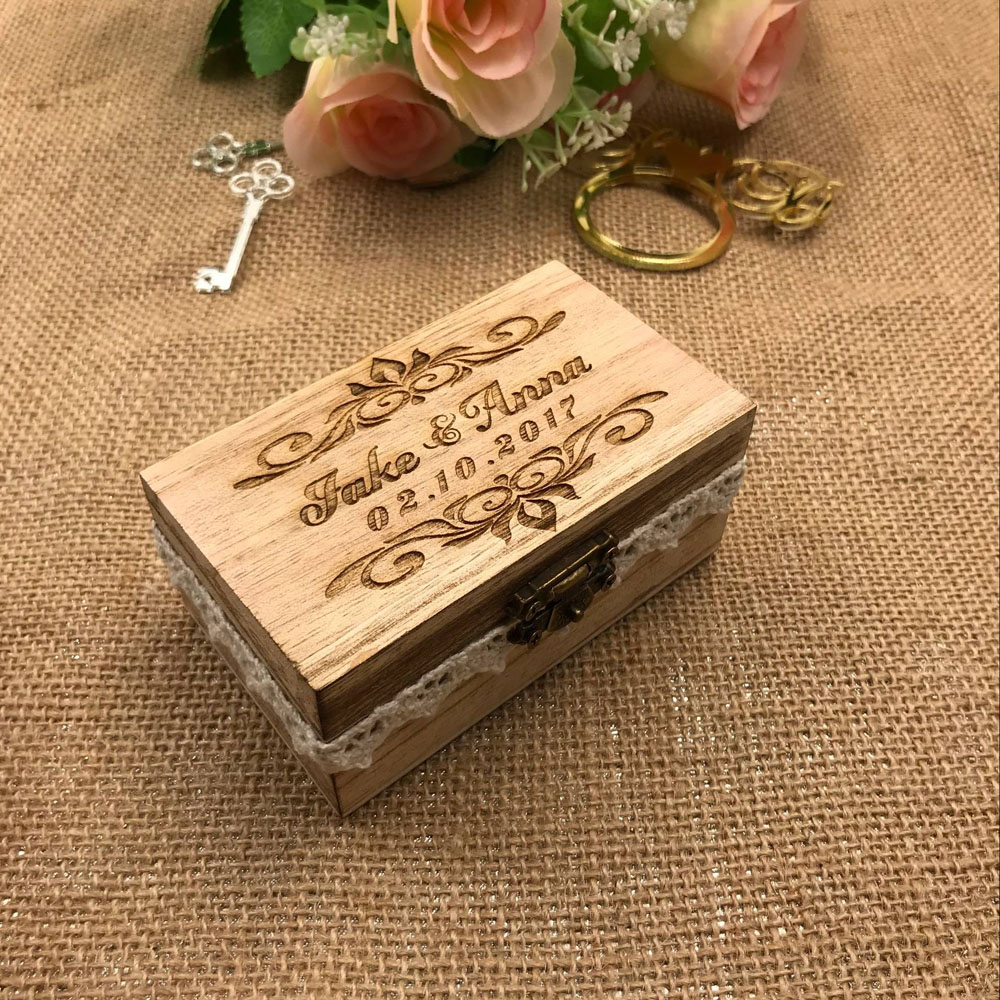 Personalized Rustic Old Wood Ring Bearer Box,Custom Bride & Groom Name Wedding Ring Box,number Wedding Ring Bearer Pillow Box