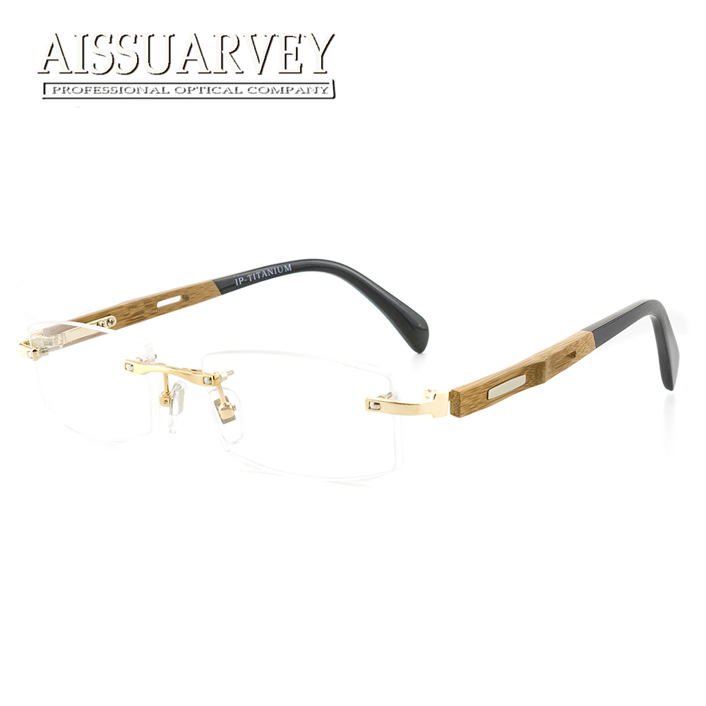 8b231fd0f6 Rimless Wooden Titanium Eyeglasses Men Optical Frame Prescription Business  Gold Glasses Frame Top Quality Golden Fashion Classic-in Eyewear Frames  from ...
