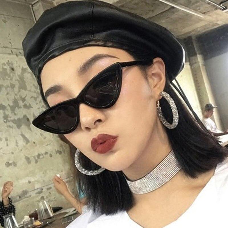 2018 Cat Eye Trendy Small Sunglasses Women Men Brand Designer UV400 Sun Glasses Shades PC Frame Flat Lens Oculos De Sol Feminino